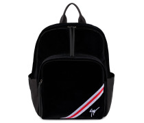 Black velvet backpack with white and red inserts CHALMER