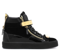 Velvet mid-top sneaker with plate COBY