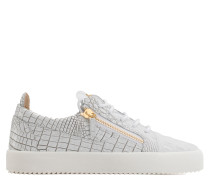 White crocodile-embossed leather low-top sneaker FRANKIE
