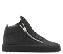 Black leather mid-top sneaker with logo KRISS