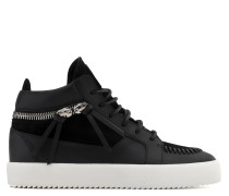 Black calf leather and black suede mid-top sneaker CLIFFORD