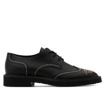 Black calf leather shoes with gold studs embroidery ANDIE