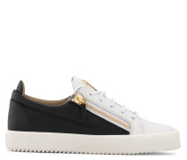 Black and white calfskin leather low-top sneaker FRANKIE
