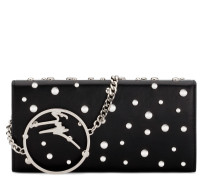 Black nappa clutch with metal logo BECKY STUDS