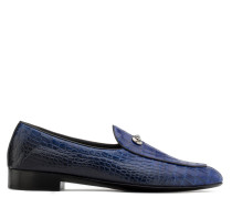 Blue crocodile-embossed leather loafer ARCHIBALD CLASSIC