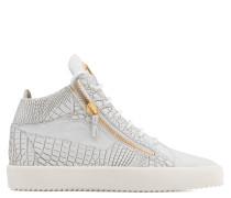 White crocodile embossed calfskin leather mid-top sneaker KRISS