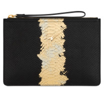 black and gold python-embossed calfskin leather clutch MARCEL METALLIC