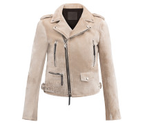 Pearl grey velvet motorcycle jacket AMELIA