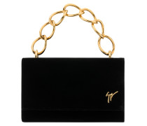 Black velvet clutch with logo LUCRETIA