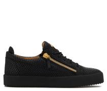 Black printed leather low-top sneaker FRANKIE PYTON
