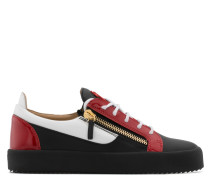 Black calfskin leather low-top sneaker with white and red patent leather insert FRANKIE