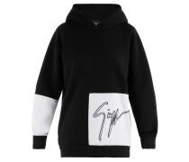 Black and white plush fabric hoodie with logo JAYDON