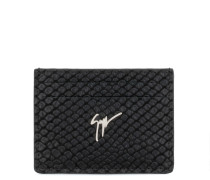 Black crocodile-embossed calfskin leather cardholder ALBERT