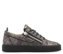 Grey python-embossed calfskin leather low-top sneaker with logo GAIL