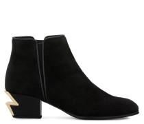Schwarzer Wildleder-Stiefel mit goldfarben skulptiertem Absatz G-HEEL