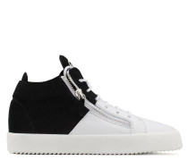 White calfskin leather and black suede mid-top DOUBLE HIGH