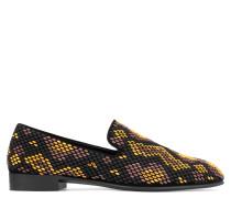 Schwarzer Wildleder-Loafer mit multi-goldener Nietenverzierung SNAKESKIN