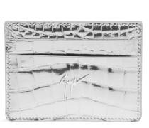 Pink crocodile-embossed calfskin cardholder MIKY