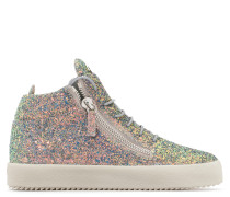 Grey fabric mid-top sneaker with glitter finishing KRISS GLITTER
