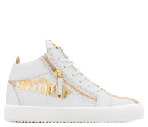 White and gold python-embossed mid-top sneaker KRISS METALLIC