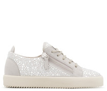 Grey suede low-top sneaker with crystals GAIL CRYSTAL