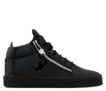 Black calfskin leather mid-top sneaker DOUBLE HIGH