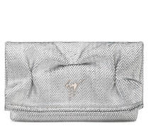 Silver lamented python-embossed leather clutch CATALINA
