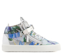 Silver shooting mid-top sneaker with printed flowers SPRING