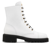 White calfskin leather boot with logo CHRIS HIGH