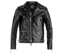 Men's black laminated nappa motorcycle jacket KIAN