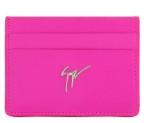 Fucsia calfskin leather women's cardholder with logo MIKY
