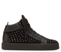 Suede mid-top sneaker with black crystals DORIS