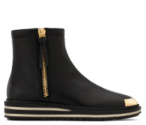 Black calfskin leather boot with metal-covered tip ADRIEL