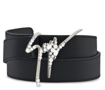 Black calfskin belt with metal logo GIUSEPPE SPARKLE