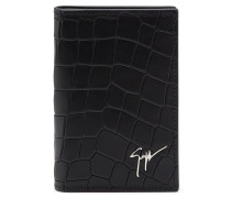 Black crocodile-embossed leather wallet ALBERT