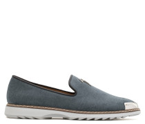 Grey fabric loafer with metal-covered tip CEDRIC