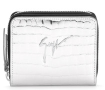 Silver crocodile embossed calfskin leather wallet with logo NITA