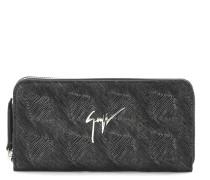 Black crocodile-embossed calf leather wallet PAULA