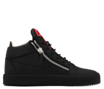 Black calfskin leather mid-top sneaker with red and white logo KRISS