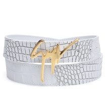 White crocodile-embossed belt GIUSEPPE