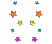 Multicolour suede stars with crystals STARS 02