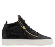 Black crocodile embossed calfskin leather mid-top sneaker KRISS