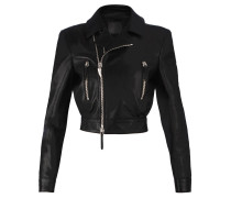 Women's black nappa leather jacket DELI