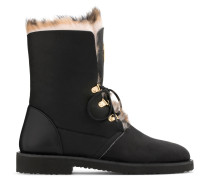 Black calfskin leather boot with shearling fur inside PHILLIS