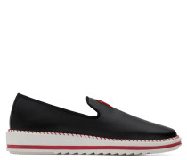 Black nappa leather loafer with red logo TIM