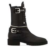 Black calfskin leather boot with metal zips and buckles CAMERON