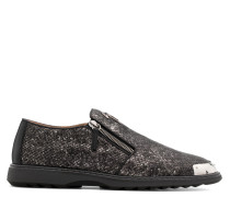 Grey python-embossed calfskin leather loafers COOPER
