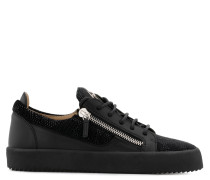 Black fabric sneaker with black leather inserts FRANKIE