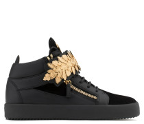 Black calf leather and black suede mid-top with gold leaves LEAF