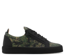 Green camouflage fabric low-top sneaker FRANKIE